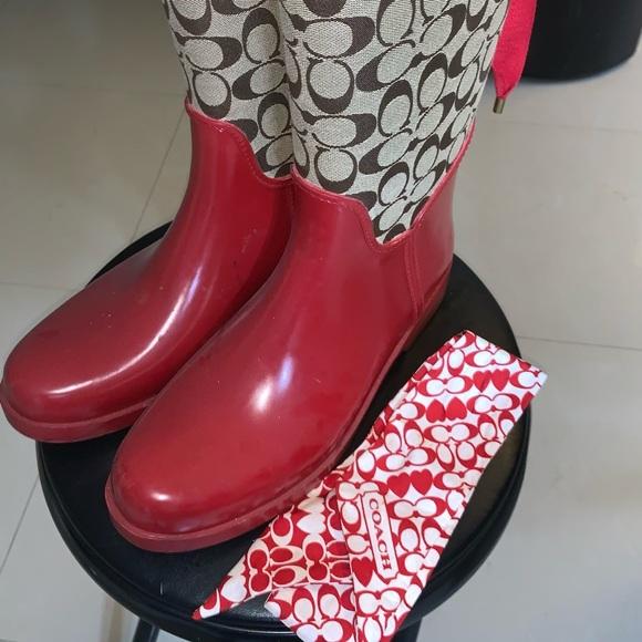 Coach rain boots with matching headband